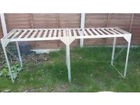 Large lightweight aluminium table used in green house wooden top