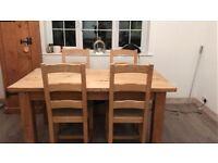 Pine table 6x beech chairs