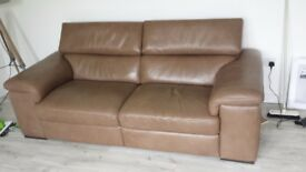 Natuzzi editions brown leather recliner sofa and matching leather recliner chair