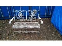 LARGE SHABBY CHIC GARDEN BENCH