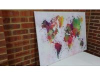 Canvas Prints world map painting 48inch 32inch