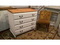 Antique Vintage Pine Chest Of Drawers *FREE LOCAL DELIVERY* Shabby Chic Old White Bedside Dresser