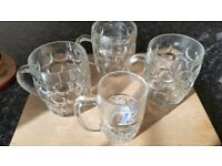 BEER GLASSES THREE AND HALF PINTS VINTAGE DIMPLE 1 PINT BEER AND WORTHINGTON E HALF