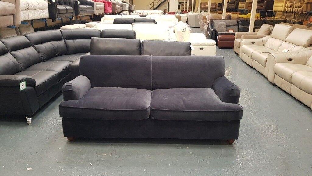 Ex Display Orson Midnight Grey Velvet Fabric 3 Seater Sofa Bed