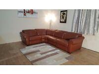 Ex-display Natuzzi Salerno brandy oregon leather electric recliner corner sofa
