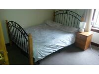Double Metal Wood Bed Frame Excellent Condition Priced to sell