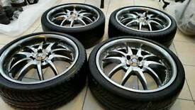 "League Black Widow 17"" 4x100 ET60+ Alloy Wheels Renault Williams Peugoet Citreon Ford"