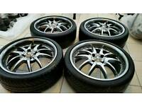 "League Black Widow 17"" 4x100 ET60+ Alloy Wheels Renault Williams Peugoet Citreon Ford"