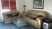 MUST SELL!! tan leather sofa and loveseat
