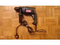 Ryobi drill, hardly used, complete with carrying box and accessories
