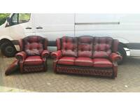 Chesterfield style, oxblood leather, springvale suite. EXCELLENT CONDITION! BARGAIN!
