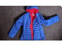 Ladies McKinley jacket, in bright blue, down filled