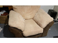 Brown/Light brown suede comfy armchair chair seat