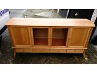 GLASS DOORS BEECH 4 DRAWER SIDEBOARD GOOD CONDITION FREE LOCAL DELIVERY