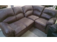 NEW Graded Brown Leather Right Hand Corner Sofa Suite FREE LOCAL DELIVERY