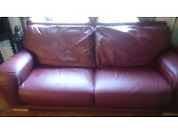 BURGUNDY LEATHER TWO PIECE DFS ITALIAN LEATHER SUITE