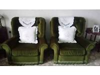 VINTAGE green, pintucked, velvet sofa, 2x chairs and matching foot stool