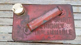 VINTAGE 1 Gall STEEL RED PETROL TANK (manufacturer VALOR of Birmingham)