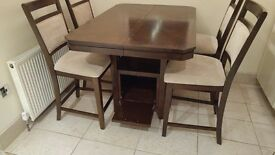 High Top Table with 4 Chairs, Storage Underneath