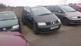 2003 SEAT ALHAMBRA, 1.9 TDI, BREAKING FOR PARTS ONLY, POSTAGE AVAILABLE NATIONWIDE