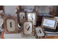 Art Deco/Great Gatsby Table Numbers in Vintage Gold Frames - Tables 1-5