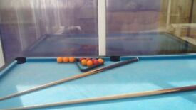 Pool table cues and ball set