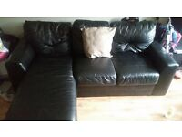 Real black leather right corner group L sofa