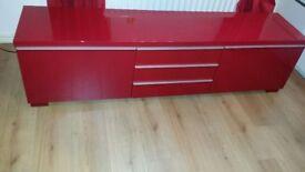 IKEA BESTA BURS RED HIGH GLOSS TV UNIT