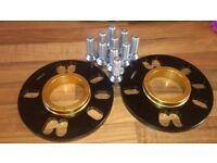 2 X 10mm BIMECC BLACK HUB CENTRIC SPACERS FITS VW 5X100 57.1