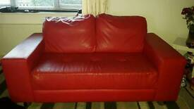 Leather sofa and large chair