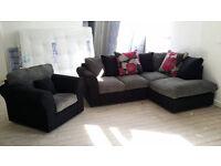NEW Grey Jumbo Cord Fabric Corner Sofa Suite Free Local Delivery