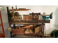 Lathe with bench grinder