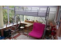 High sleeper bed with pink futon, desk and stool and matress. Excellent cond