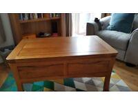 Oak Furnitureland Orrick Range Rustic Solid Oak 4 Drawer Storage Coffee Table (6 months old)