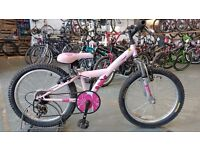 GIRLS APOLLO KINX BIKE 20 INCH WHEELS FRONT SUSPENSION 6 SPEED PINK GOOD CONDITION