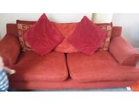 3 SEATER SOFA RED FABRIC