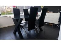 Glass dinning table & 4 chairs