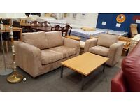 Modern beige compact 2 seater and armchair