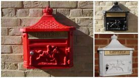 Vintage Style Wall Mounted Aluminium Post Box- Red, Black or White Available