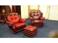 Oxblood leather Chairs x2 - one is recliner free foot stool