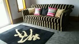 4 Seater Black Beige Striped Sofa