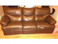 3 Seater Part Leather Recliner Sofa