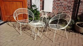 Set of Cream Garden Furniture including cushions