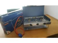 Excellent Boxed Camping Gaz Chef cooker, pipe, regulator and half full gas bottle
