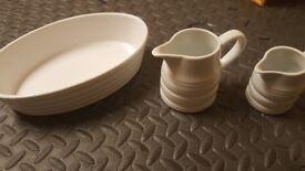 Porcelain dish and milk jugs