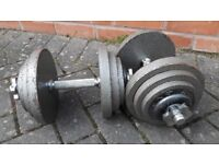 GOLDS GYM 40KG CAST IRON DUMBBELL WEIGHTS SET