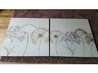 2 large Next canvas / wall art cream and gold