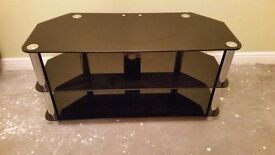 BLACK GLASS TELEVISION DVD SKY STAND UNIT