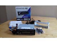 Kenwood Dab car stereo with Dab aerial. USB, ipod, Bluetooth.