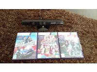 Xbox 360 kinect & 3 games